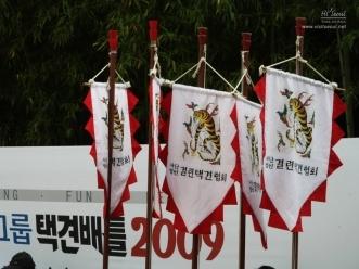 결련택견협회 깃발들