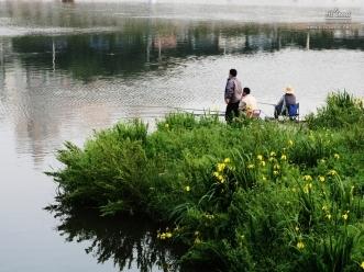 중랑천에서 낚시를 즐기는 시민들